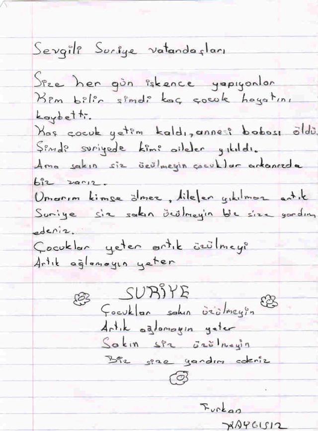 Sivaslı Çocuklardan Suriyeli Kardeşlerine Mektup! 15
