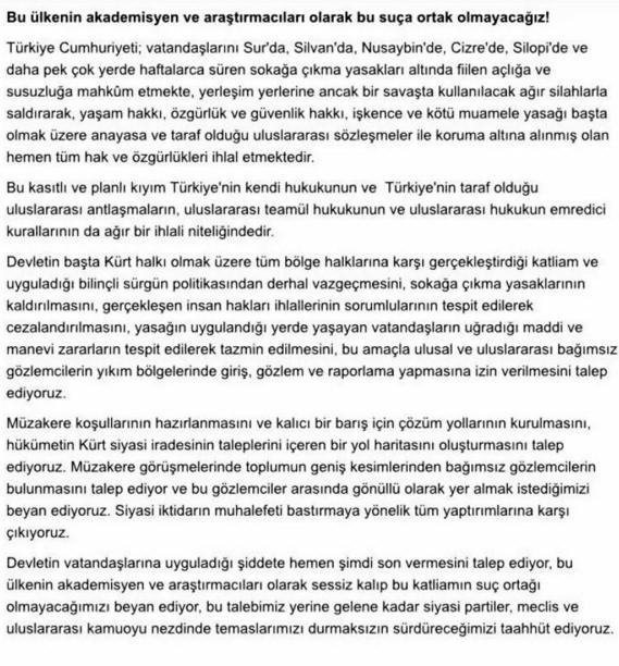 1100 Akademisyenden PKK'ye Destek Bildirisi 1