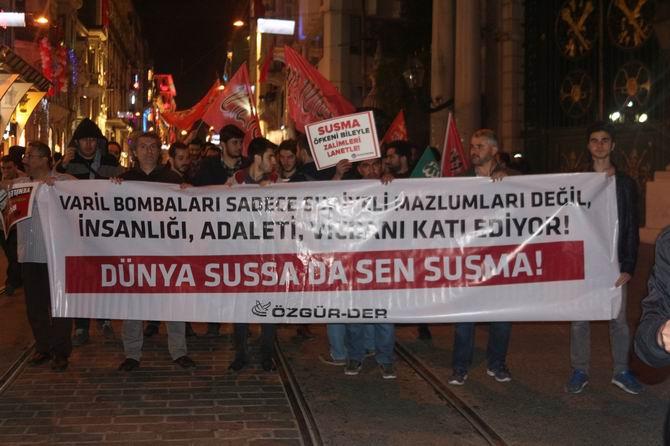 Halep'teki Katliamlara İstanbul'da Protesto 1