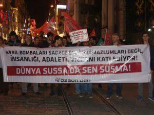 Halep'teki Katliamlara İstanbul'da Protesto