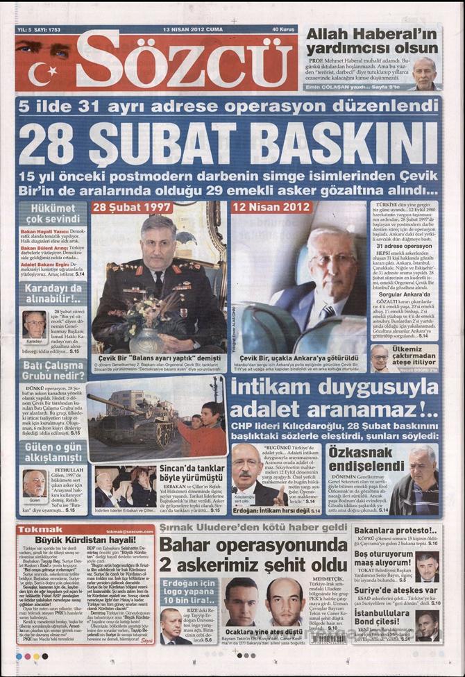 Gazete Manşetlerinde 28 Şubat Operasyonu 14