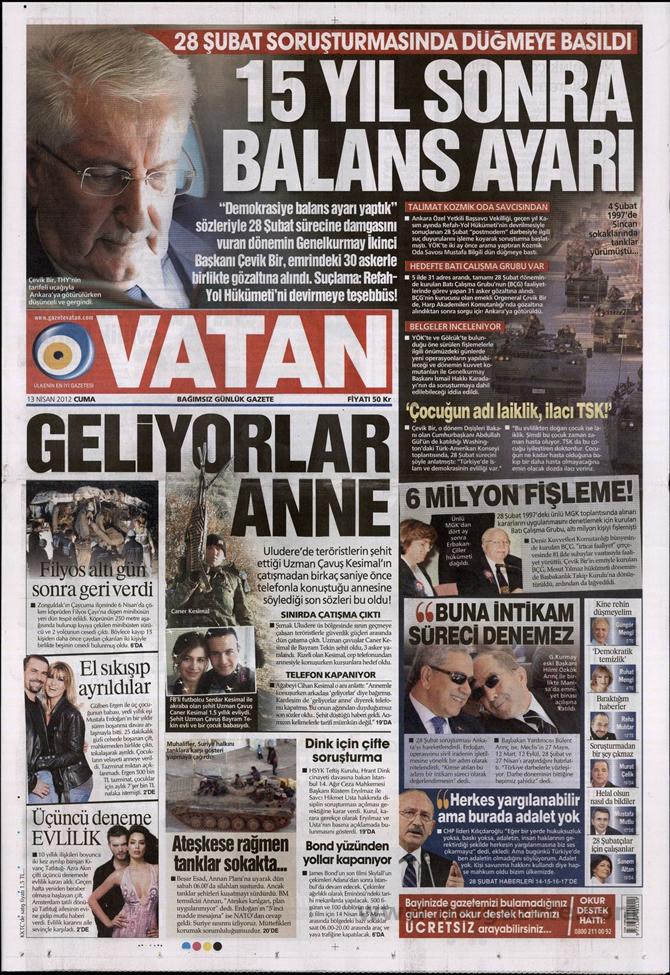 Gazete Manşetlerinde 28 Şubat Operasyonu 20