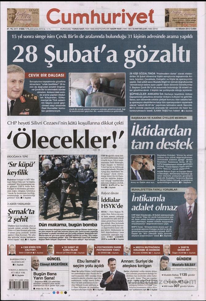 Gazete Manşetlerinde 28 Şubat Operasyonu 4