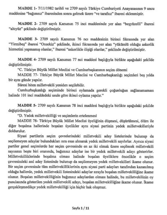 Anayasa'nın Değiştirilecek 21 Maddesi 1