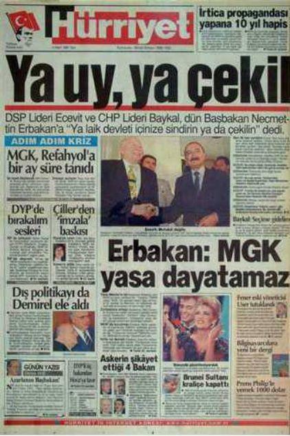 28 Şubat'ın Tetikçisi Medyanın Manşetleri 1