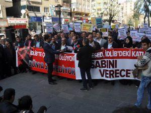 Diyarbakır'da İdlib'teki Katliamlar Lanetlendi