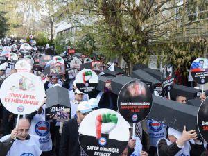 İdlib Katliamı İran ve Rusya Büyükelçiliği Önünde Kınandı
