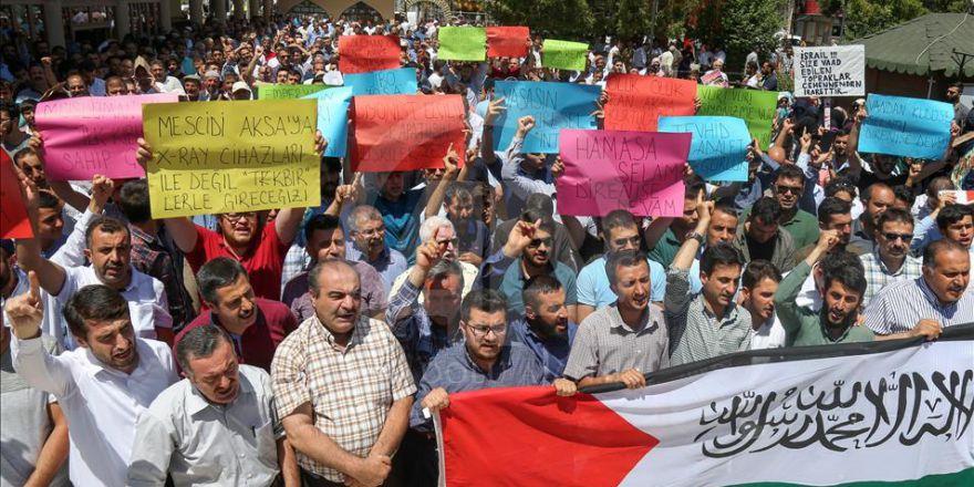İşgalci İsrail'in Mescid-i Aksa'ya Yönelik Zulümleri Protesto