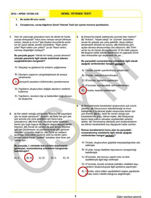 2012 KPSS Soru ve Cevapları 1