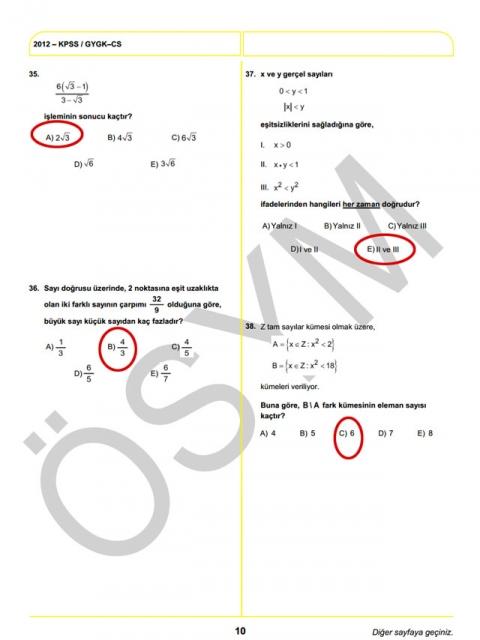 2012 KPSS Soru ve Cevapları 10