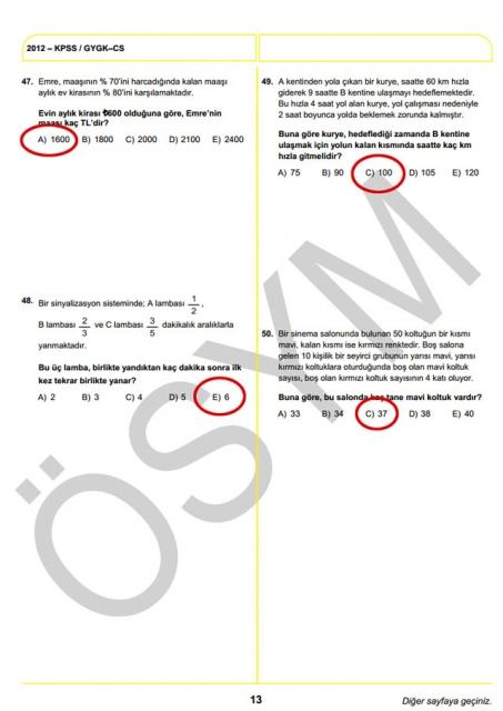 2012 KPSS Soru ve Cevapları 13
