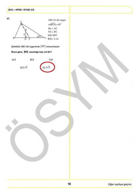 2012 KPSS Soru ve Cevapları 16