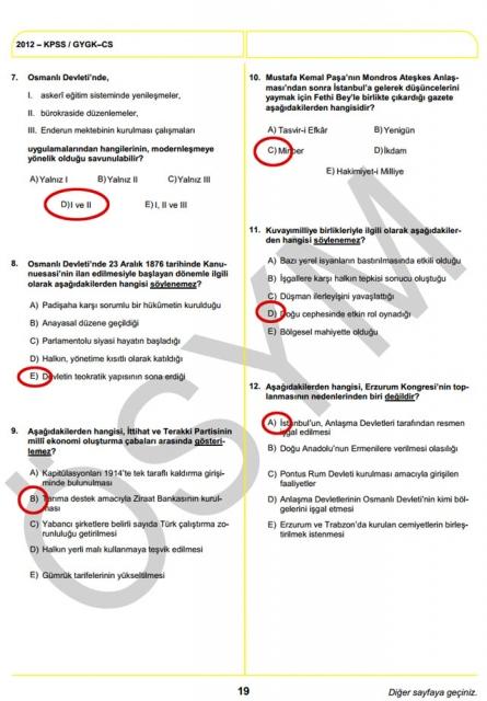 2012 KPSS Soru ve Cevapları 19