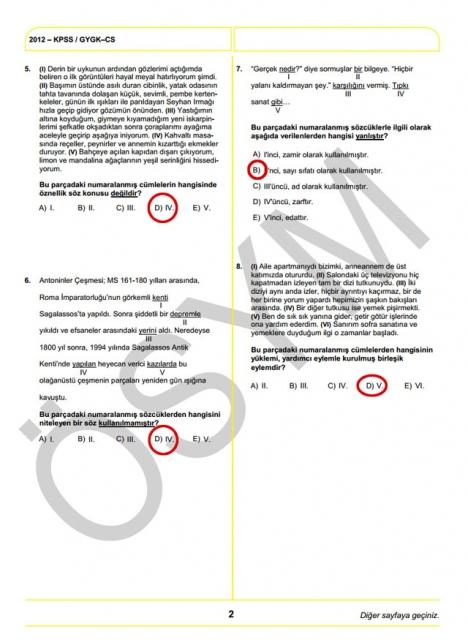 2012 KPSS Soru ve Cevapları 2