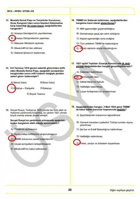 2012 KPSS Soru ve Cevapları 20