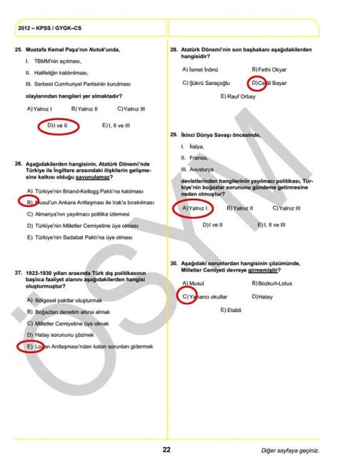 2012 KPSS Soru ve Cevapları 22