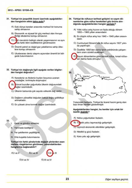 2012 KPSS Soru ve Cevapları 23