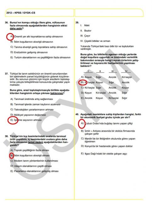 2012 KPSS Soru ve Cevapları 24