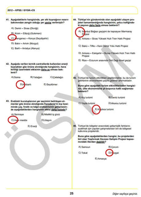 2012 KPSS Soru ve Cevapları 25