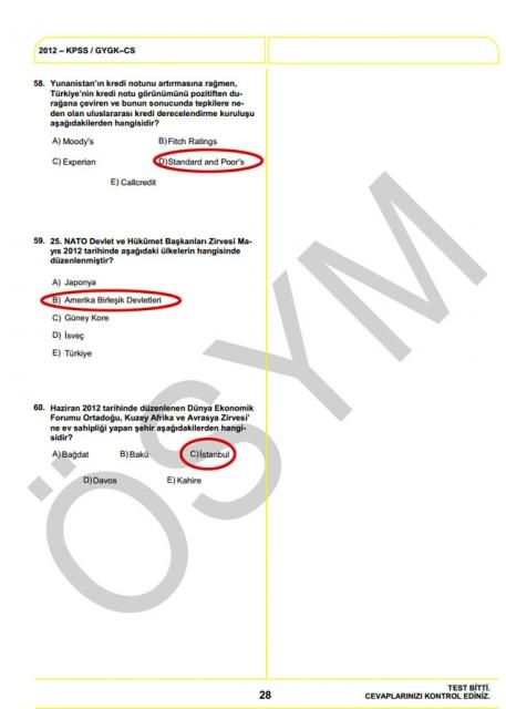 2012 KPSS Soru ve Cevapları 28