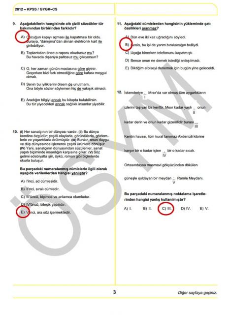 2012 KPSS Soru ve Cevapları 3