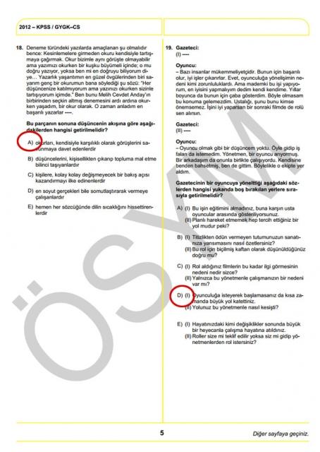 2012 KPSS Soru ve Cevapları 5