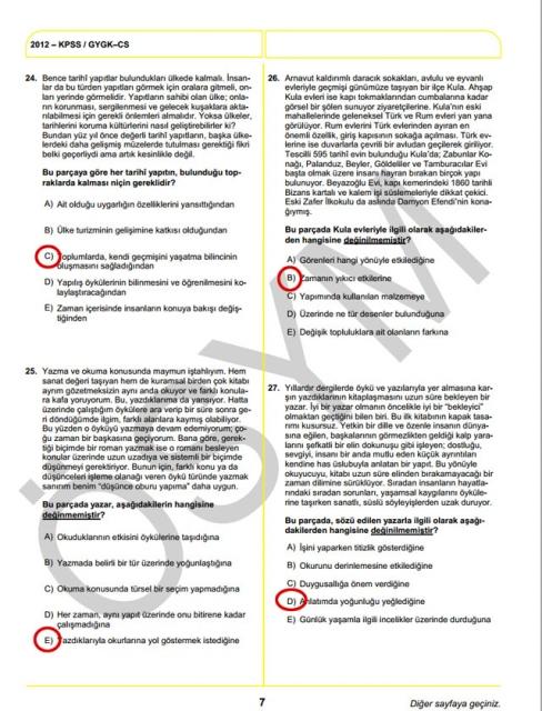 2012 KPSS Soru ve Cevapları 7