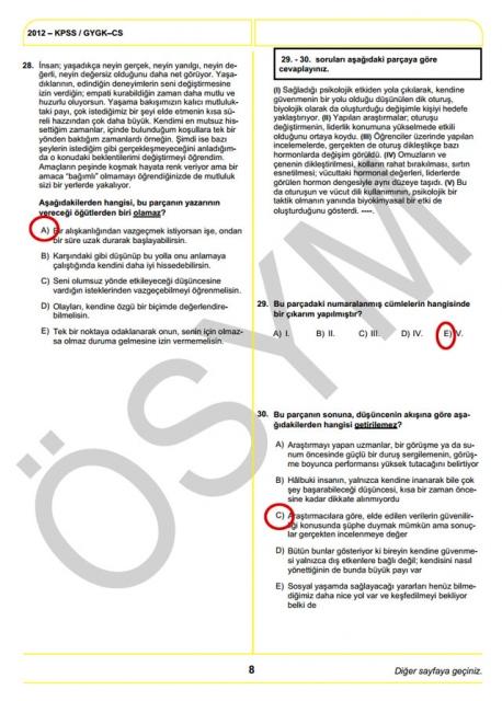 2012 KPSS Soru ve Cevapları 8