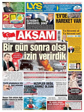 Gazete Manşetleri - 17 Temmuz 2012 galerisi resim 1