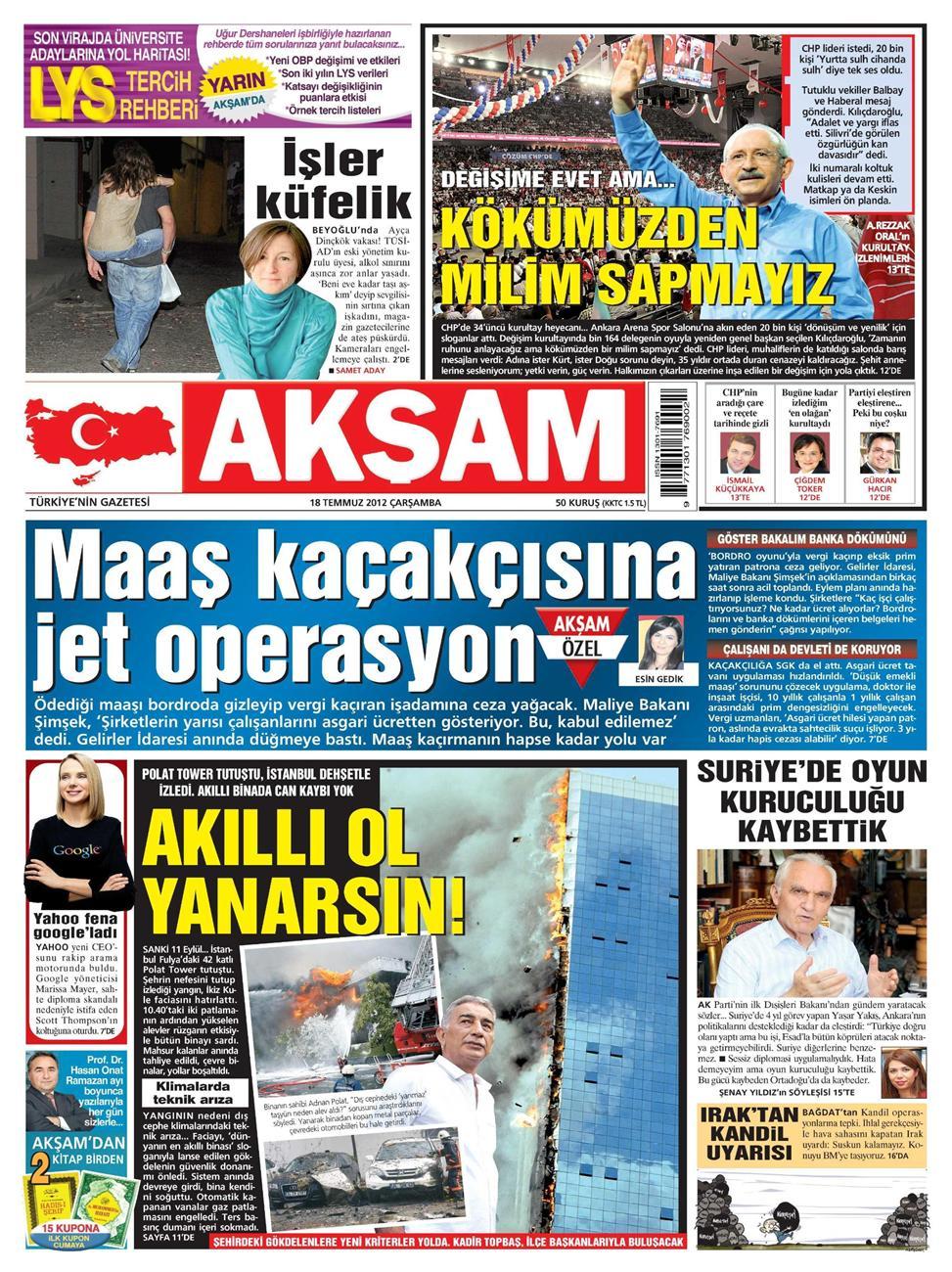 Gazete Manşetleri - 18 Temmuz 2012 1
