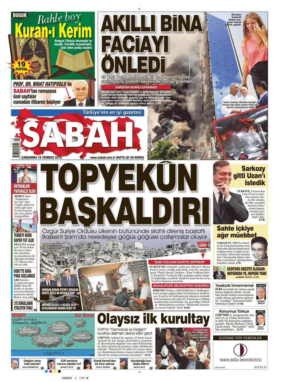 Gazete Manşetleri - 18 Temmuz 2012 11