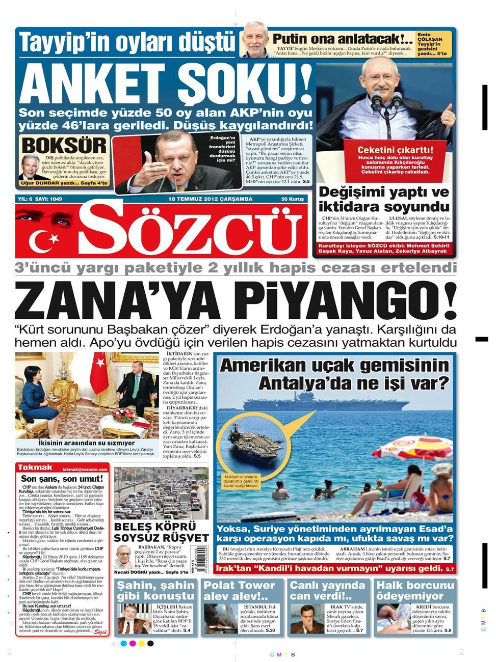 Gazete Manşetleri - 18 Temmuz 2012 12