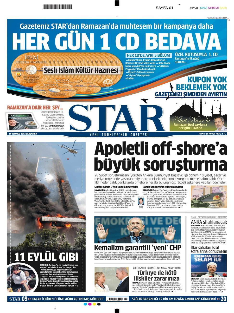 Gazete Manşetleri - 18 Temmuz 2012 13