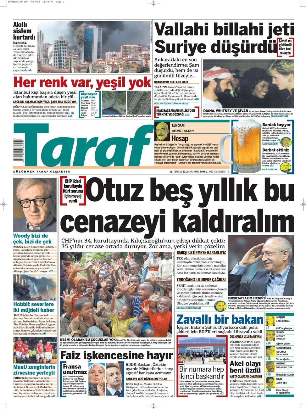 Gazete Manşetleri - 18 Temmuz 2012 15