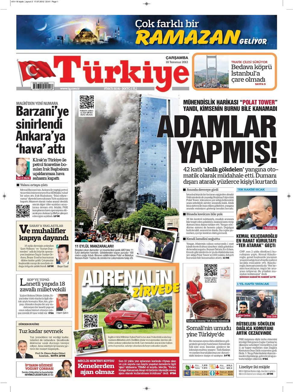 Gazete Manşetleri - 18 Temmuz 2012 16