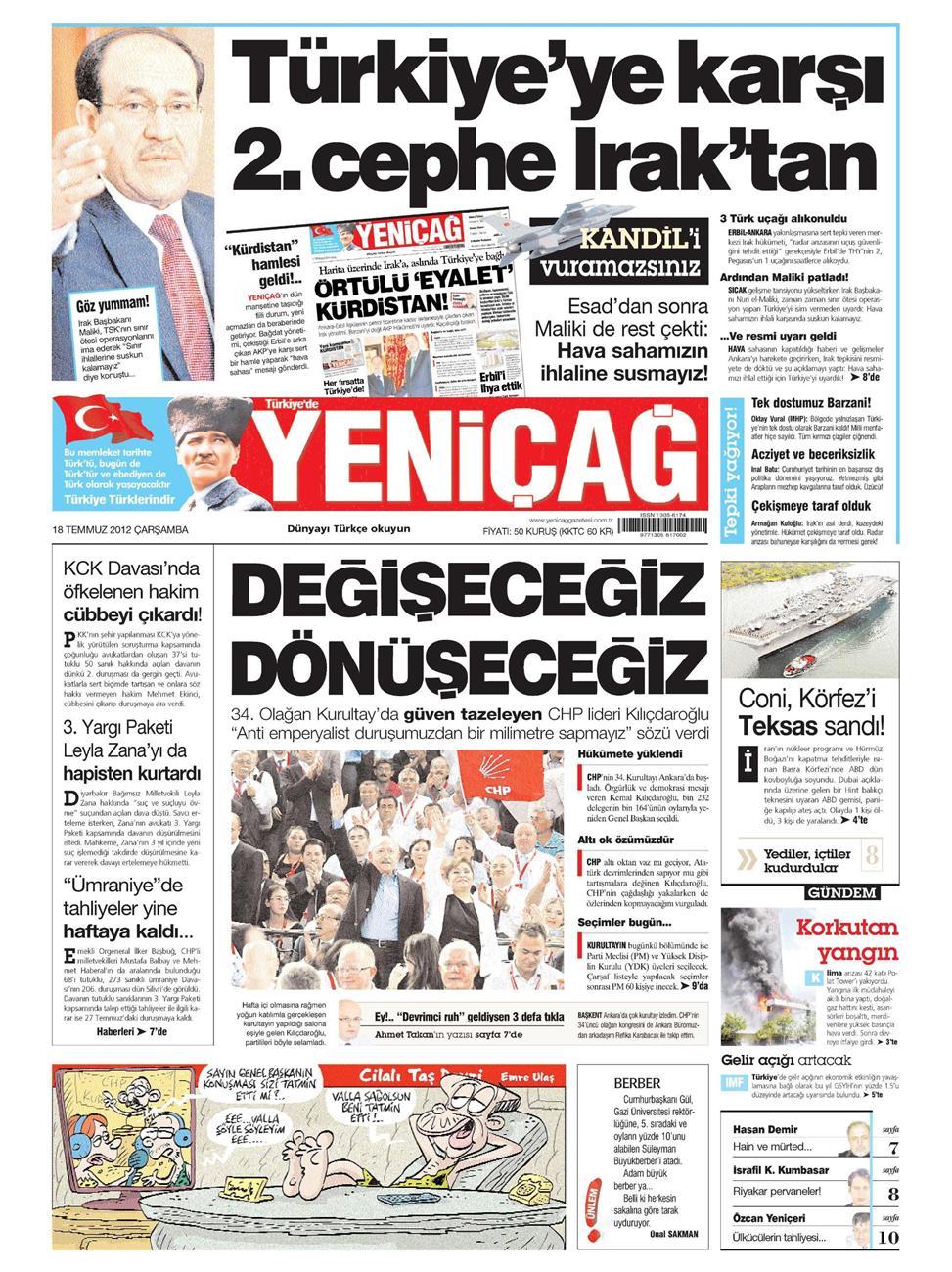 Gazete Manşetleri - 18 Temmuz 2012 17