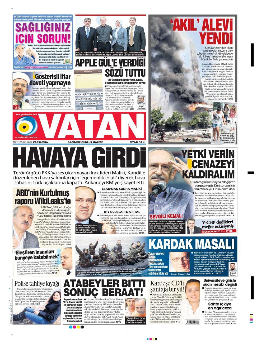 Gazete Manşetleri - 18 Temmuz 2012 18