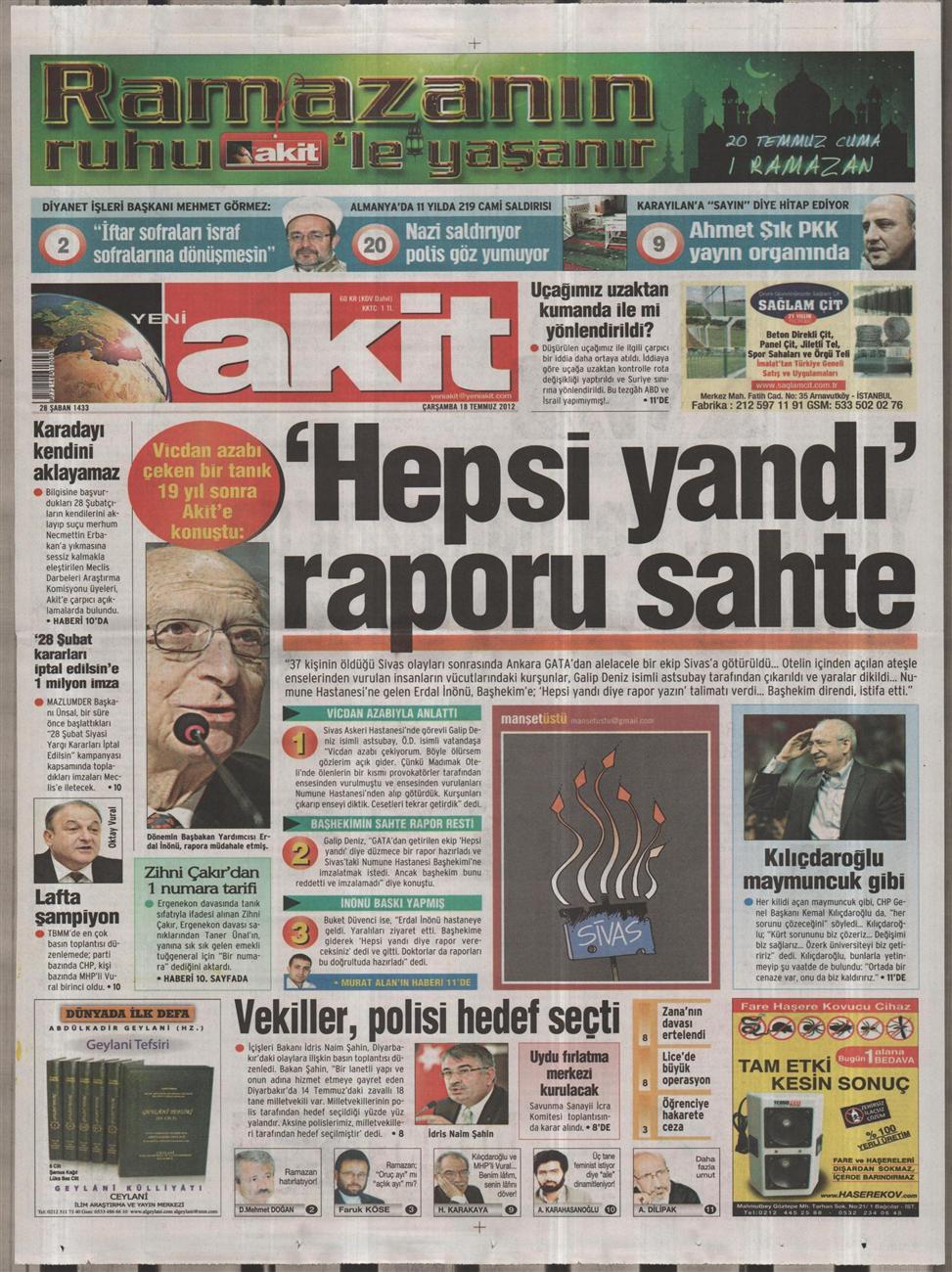 Gazete Manşetleri - 18 Temmuz 2012 19