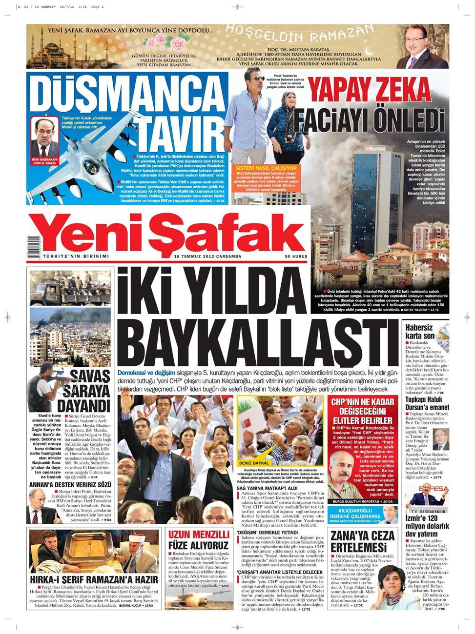 Gazete Manşetleri - 18 Temmuz 2012 21