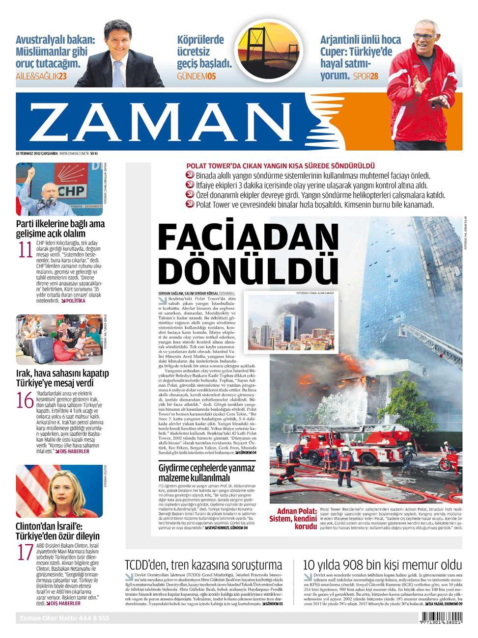 Gazete Manşetleri - 18 Temmuz 2012 22