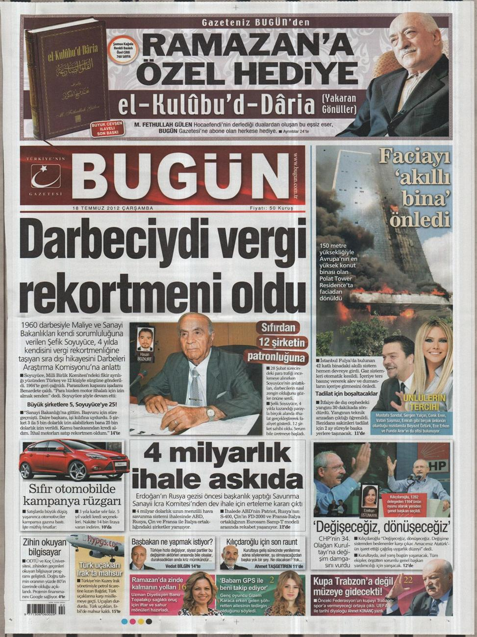 Gazete Manşetleri - 18 Temmuz 2012 3