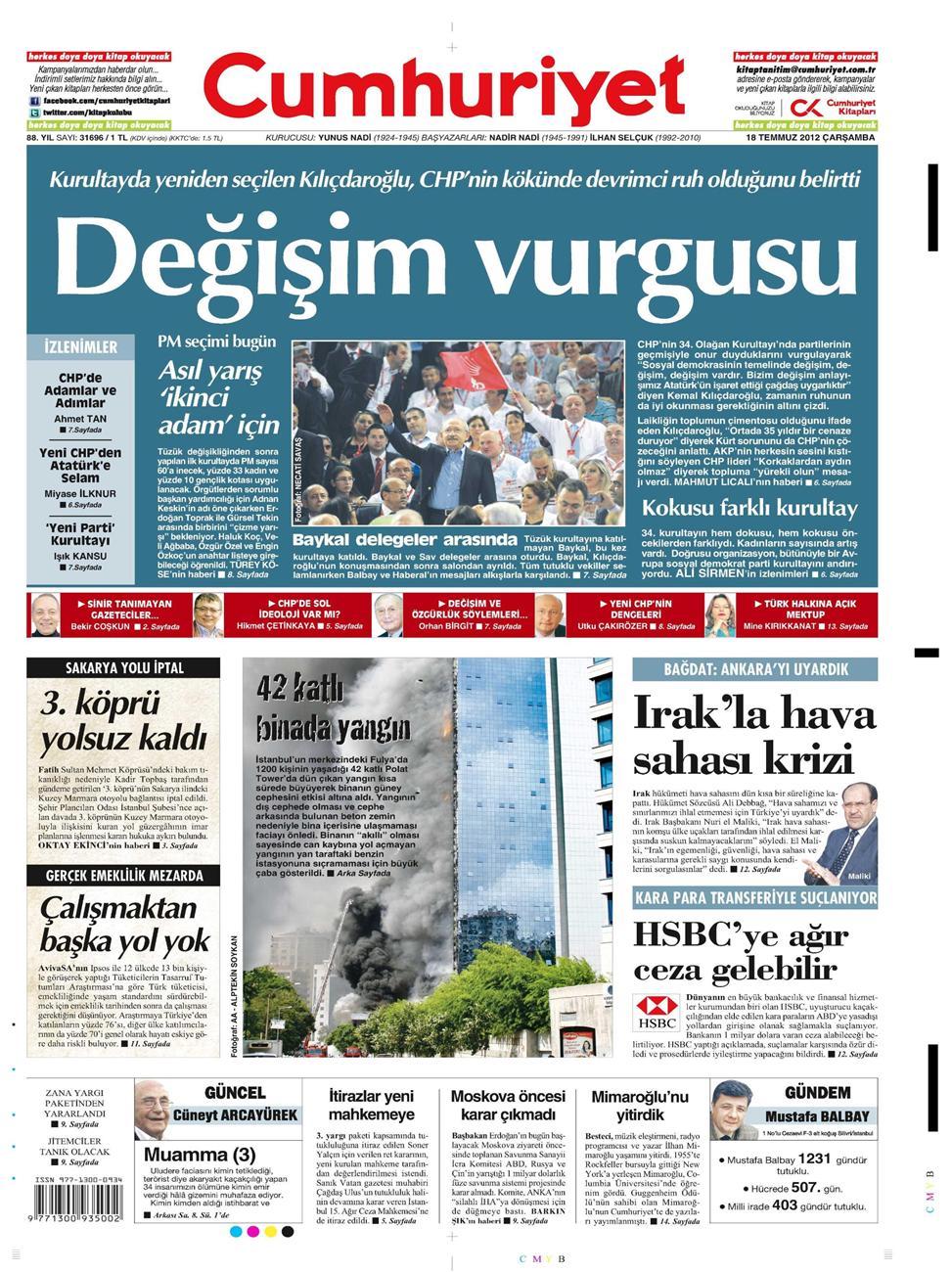 Gazete Manşetleri - 18 Temmuz 2012 4