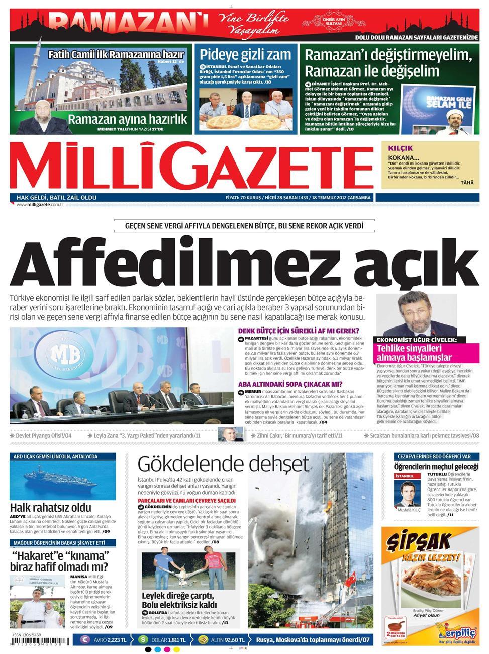 Gazete Manşetleri - 18 Temmuz 2012 7