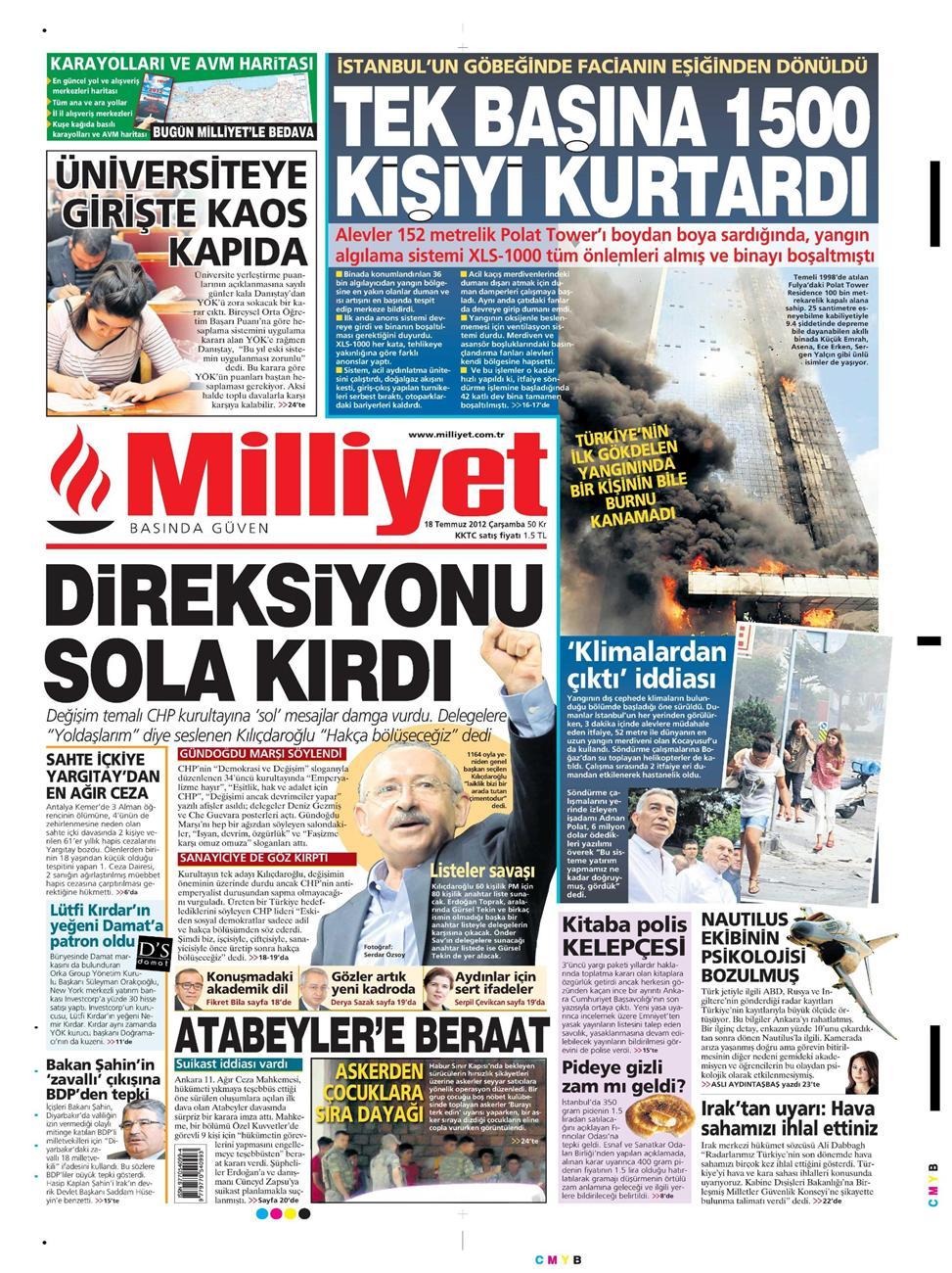 Gazete Manşetleri - 18 Temmuz 2012 8