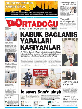 Gazete Manşetleri - 19 Temmuz 2012 10