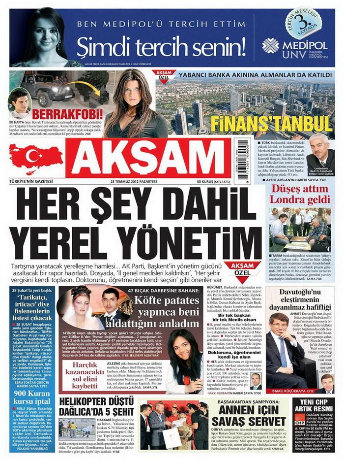Gazete Manşetleri - 23 Temmuz 2012 galerisi resim 1