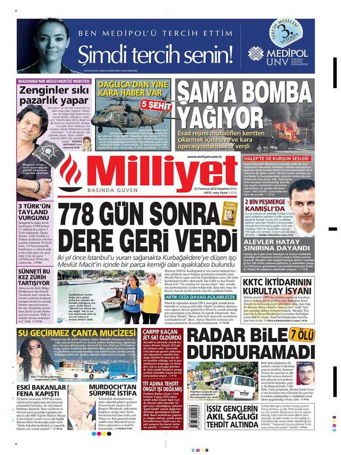 Gazete Manşetleri - 23 Temmuz 2012 10