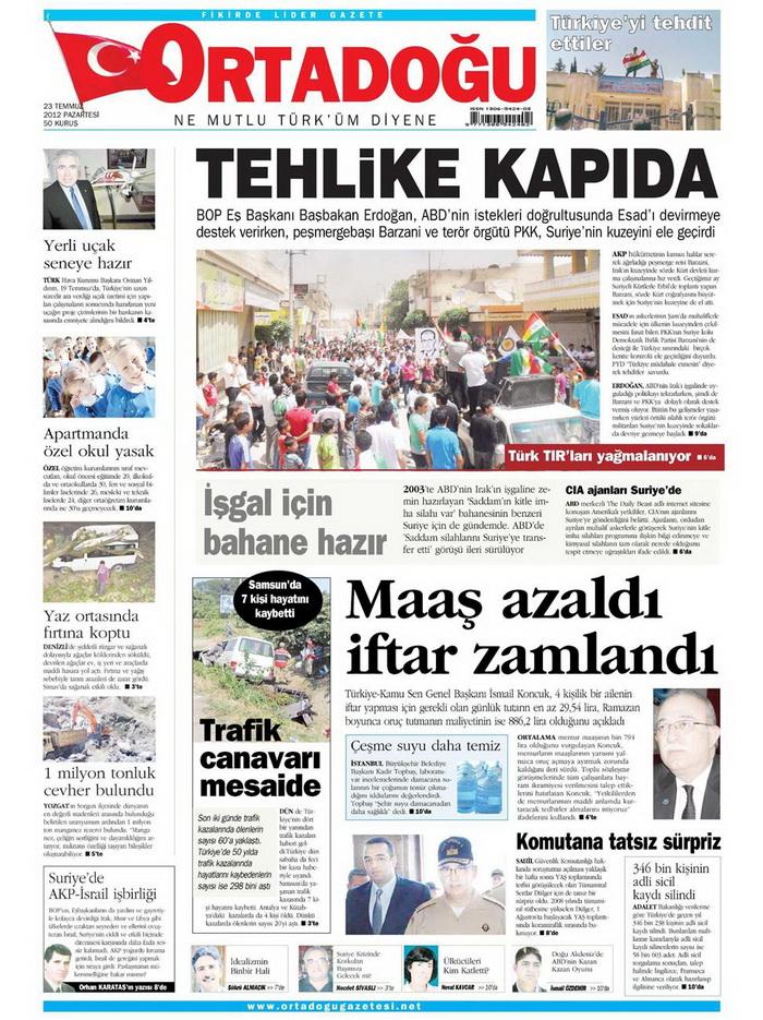 Gazete Manşetleri - 23 Temmuz 2012 11