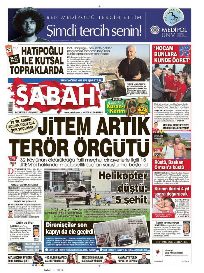 Gazete Manşetleri - 23 Temmuz 2012 14