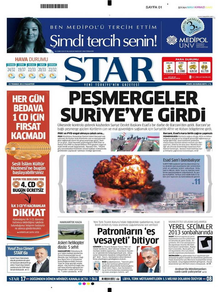 Gazete Manşetleri - 23 Temmuz 2012 16